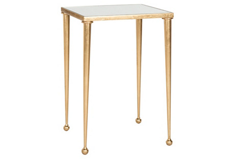 Nancy Mirrored Side Table, Gold