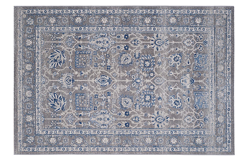 De Beque Jute-Blend Rug, Gray/Blue
