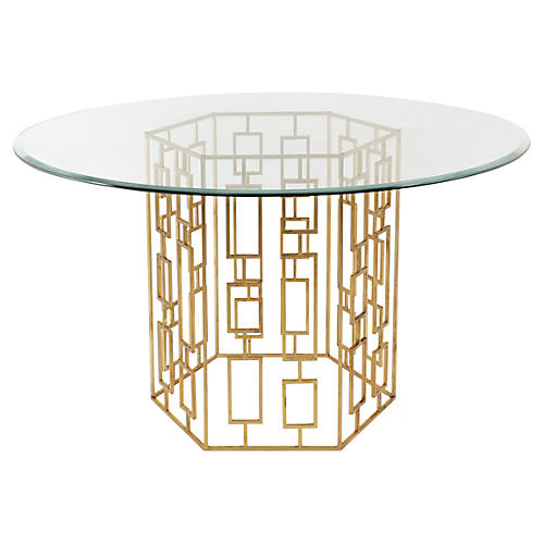 """Alexandra 54"""" Round Dining Table, Gold"""