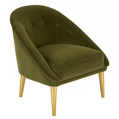 Hopkins Barrel Chair, Olive Velvet