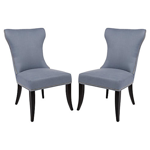 Blue Halston Side Chairs, Pair