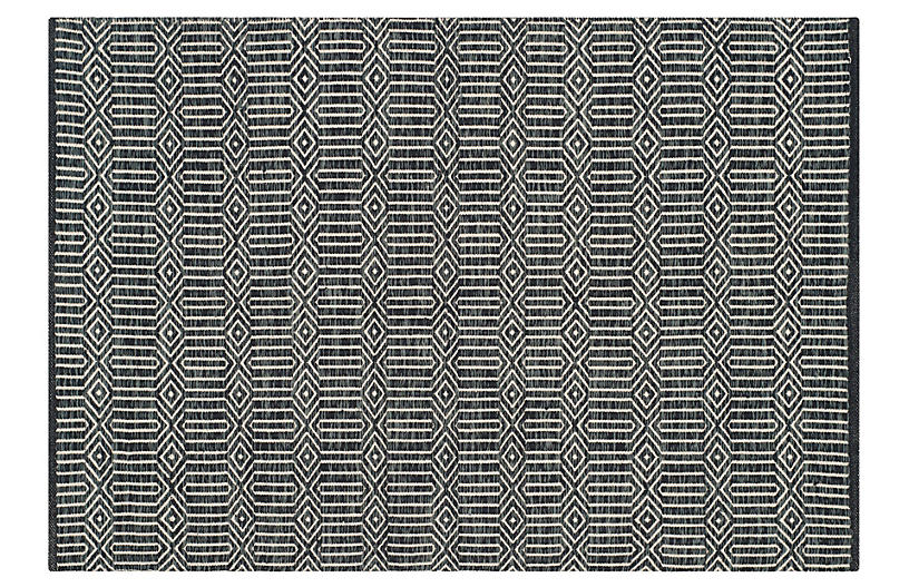 Wickham Flat-Weave Rug, Ivory/Dark Gray