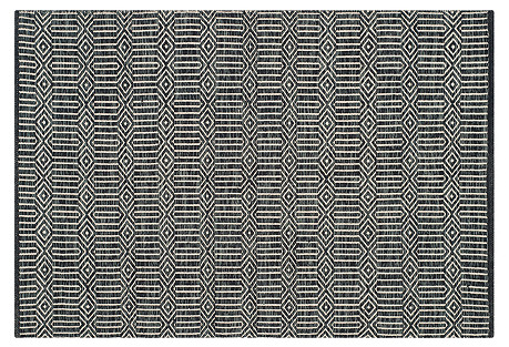 Tortuga Flat-Weave Rug, Ivory/Dark Gray