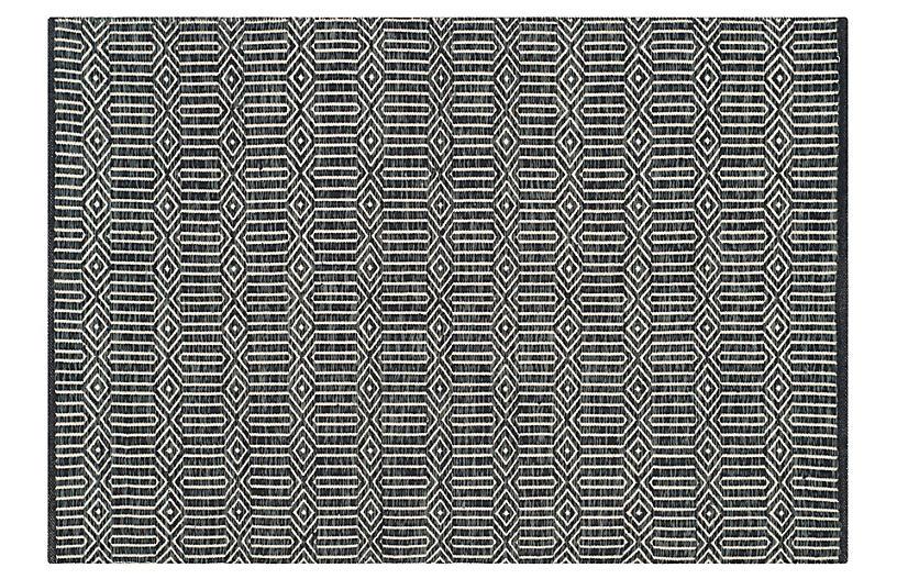 Wickham Flat-Weave Rug, Ivory/Dark Gray