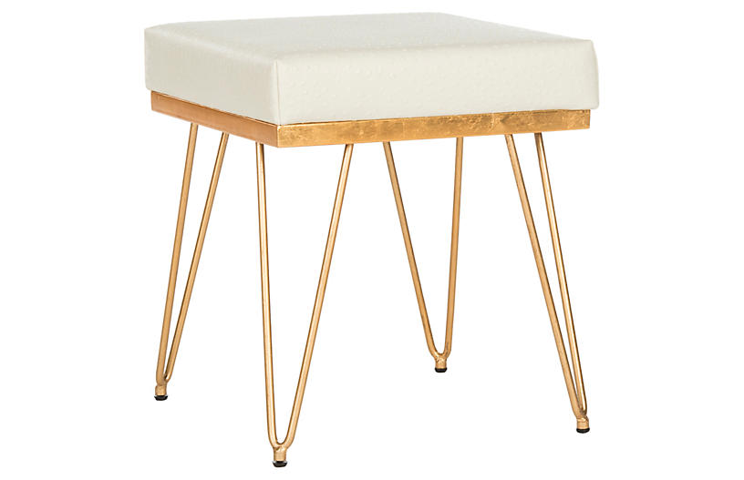 Oslo Square Stool, Cream