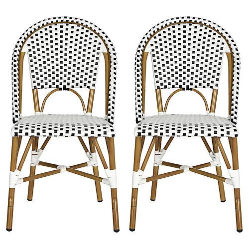 Black Sasha Bistro Side Chair, Pair