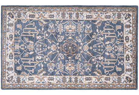 Watson Hand-Knotted Rug, Blue/Ivory