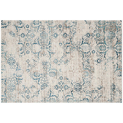 Selina Rug, Blue/Cream