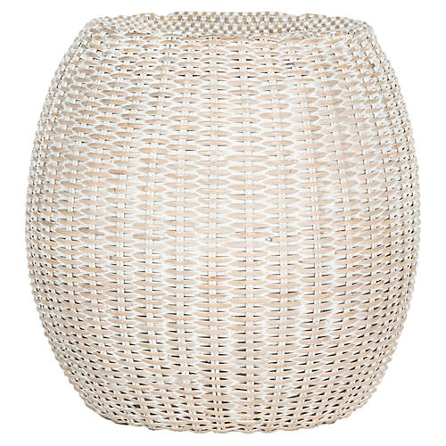 Lena Rattan Side Table, Off-White
