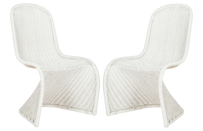 S/2 Tana Wicker Side Chairs, White