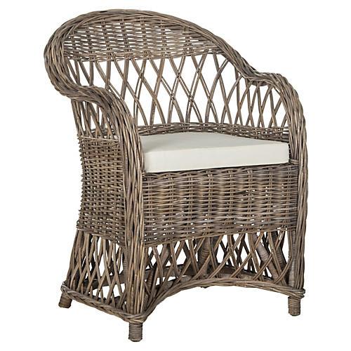 Kathryn Wicker Club Chair, Rattan