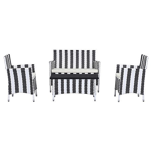 Outdoor Rachel 4-Pc Set, Black Stripes