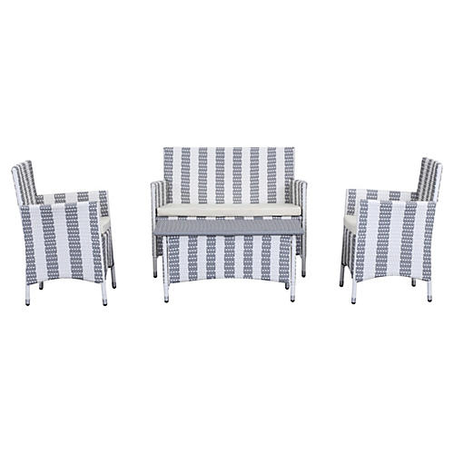 Ceuta 4-Pc Outdoor Set, Gray Stripes