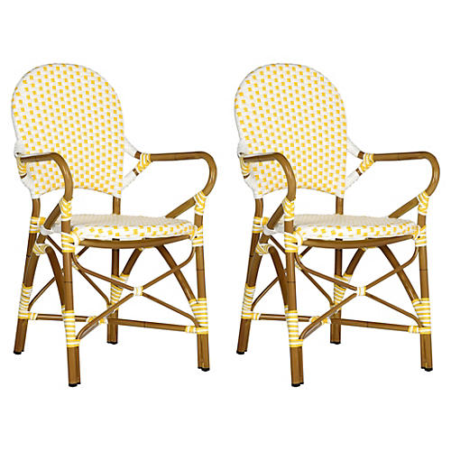 Dylan Yellow Bistro Armchairs, Pair