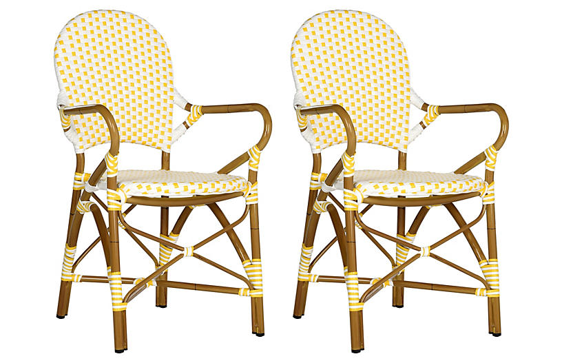 S/2 Dylan Armchairs, Yellow/White