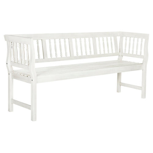 Nola Outdoor Bench, Antiqued White