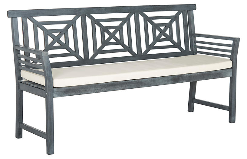 Outdoor Angelina 3-Seat Bench, Gray