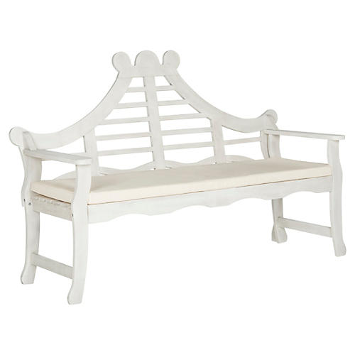 Pagoda Outdoor Bench, White