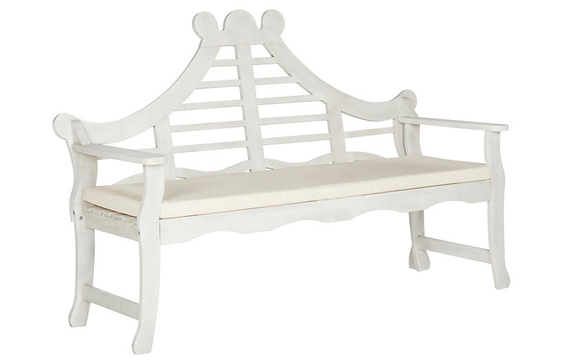 Pagoda Outdoor Bench - White