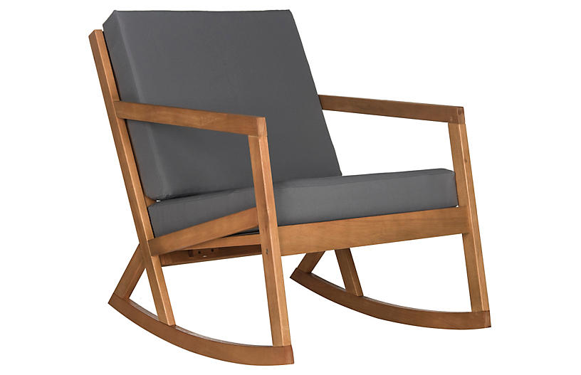 Lindsey Rocking Chair, Gray/Natural
