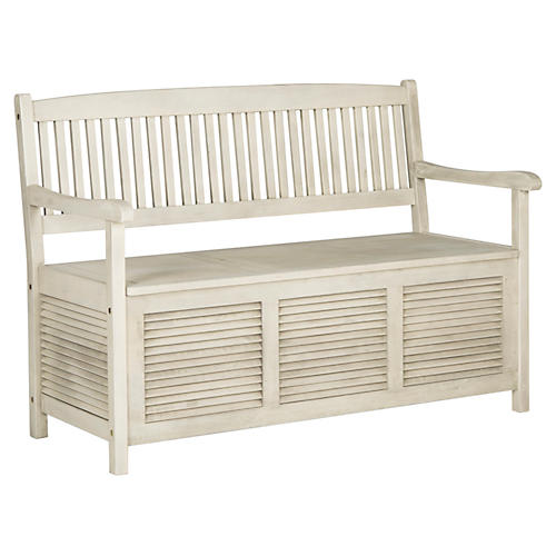 Cacey Outdoor Bench, White