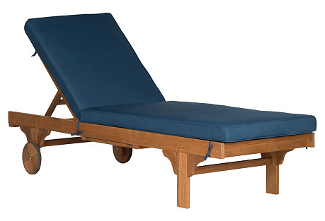 Outdoor Sienna Chaise Lounge, Navy
