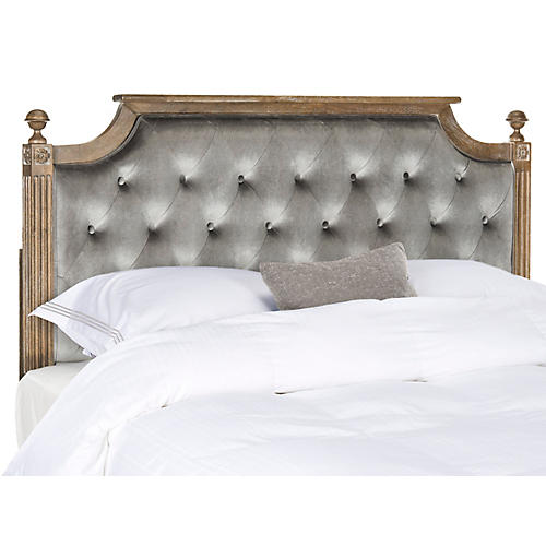 Hamel Tufted Headboard, Gray Velvet