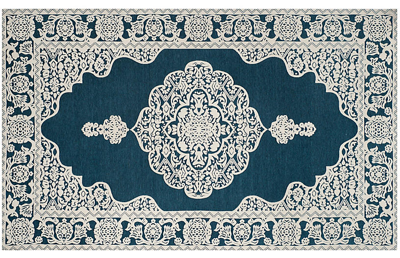 Melani Flat-Weave Rug, Ivory/Blue