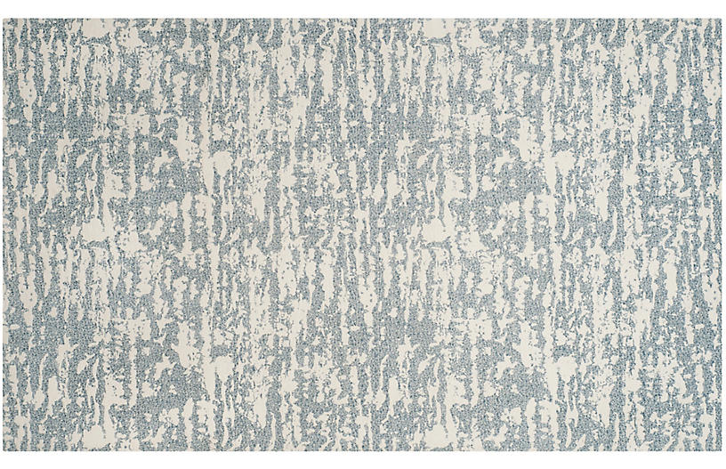 Sean Flat-Weave Rug, Ivory/Blue