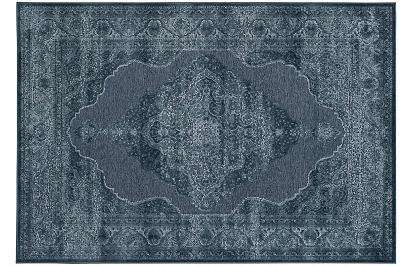 Joe Overdyed Rug, Blue/White