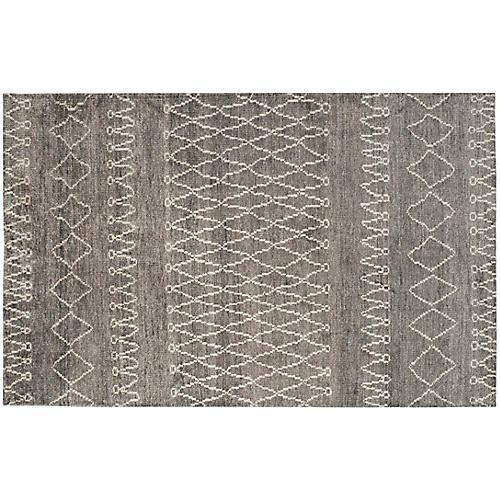 Melinda Hand-Knotted Rug, Gray/Ivory