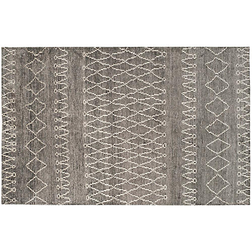Melinda Hand-Knotted Rug, Gray/Ivory