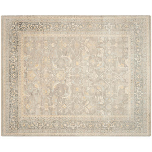 Kevin Hand-Knotted Rug, Ivory/Gray