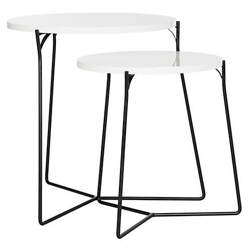 S/2 Etten Nesting Tables, White/Black