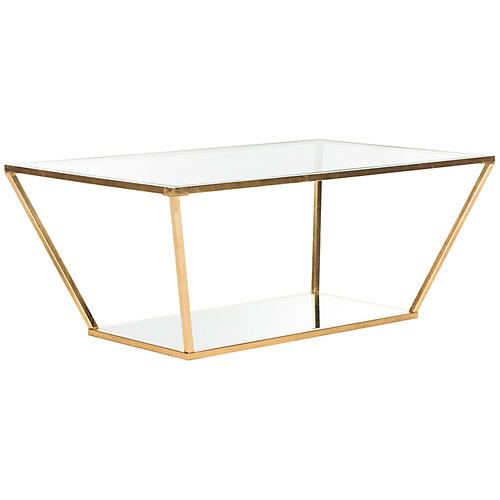 "Allie 48"" Coffee Table, Gold Leaf"