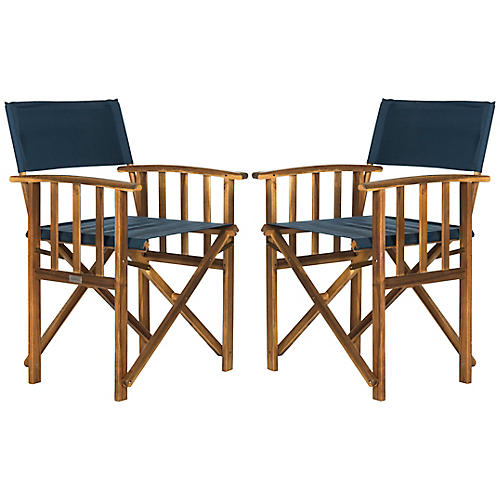 Miles Outdoor Director's Chairs, Navy/Natural