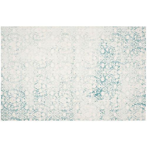 Xue Rug, Turquoise/Ivory