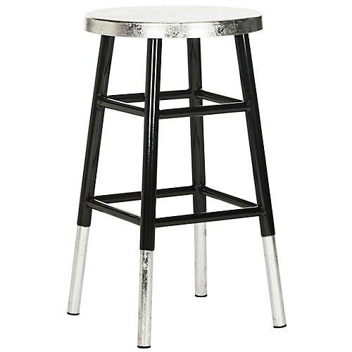 Lacie Silver-Dipped Counter Stool, Black