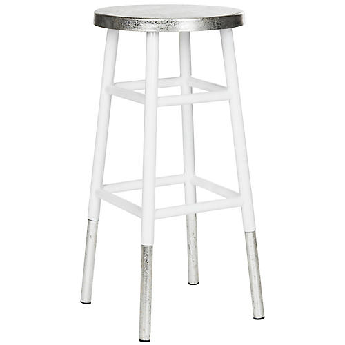 Lacie Silver-Dipped Barstool, White