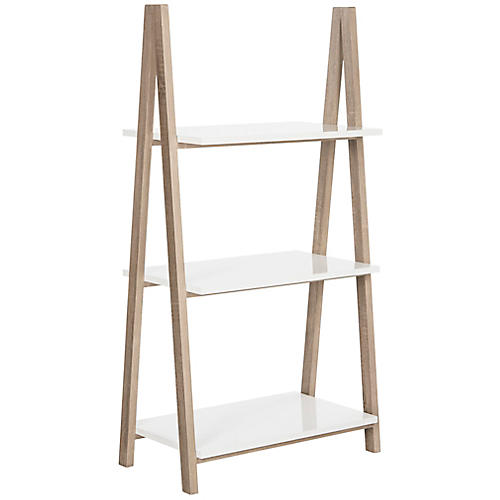 Hilde 52'' Three-Tier Bookshelf, White