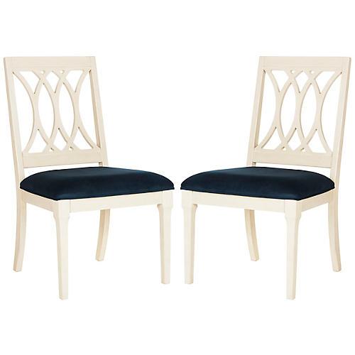 Katryn Navy Velvet Side Chairs, Pair