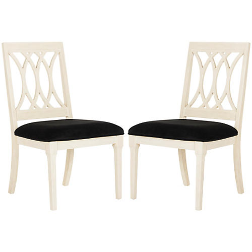 Katryn Black Velvet Side Chairs, Pair