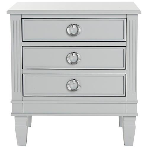 Lene Three-Drawer Nightstand, Gray
