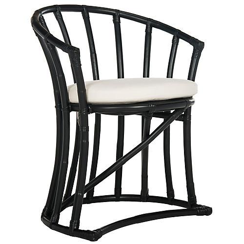 Oskar Rattan Accent Chair, Black