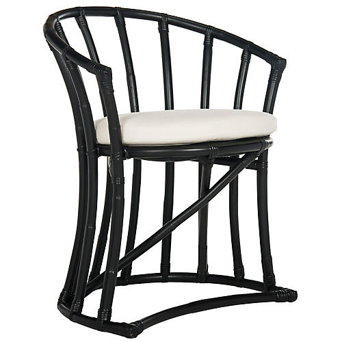 Oskar Rattan Accent Chair, Black