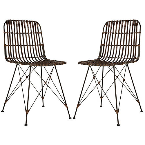 Rae Java Wicker Side Chairs, Pair