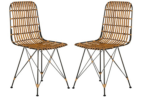 Rae Natural Wicker Side Chairs, Pair