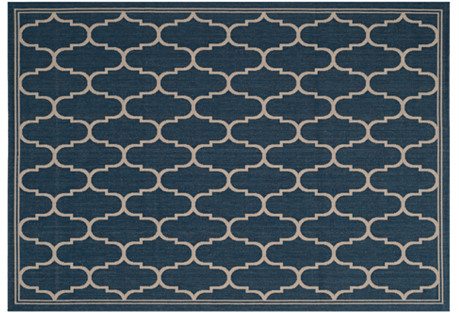 Zariel Outdoor Rug, Navy/Beige