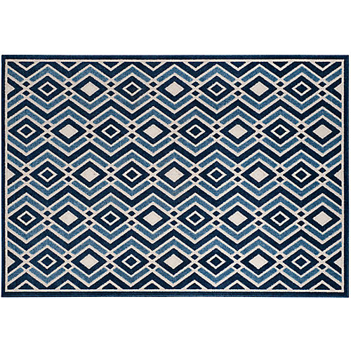 Helike Outdoor Rug, Ivory/Blue
