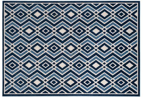 Helike Outdoor Rug, Ivory/Blue
